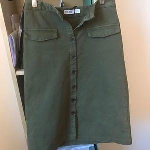 ZARA Olive green Corduroy midi skirt